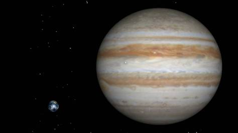 JUpiter compared to Earth, Jupiter is 11.2 times bigger than earth. photo-credit; ytimg.com