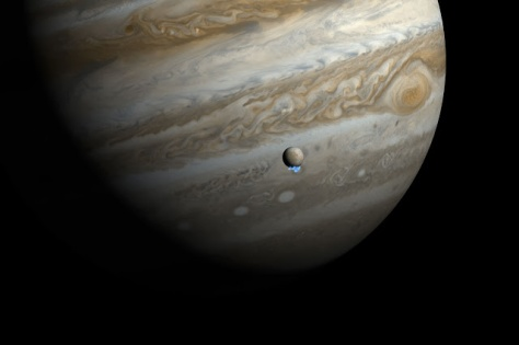 Jupiter, Europa, their love game.