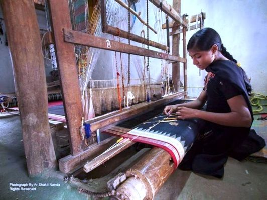 The art forms of Odisha: the Famous Sambalpuri or IKAT sari weaving at Haradukhol, Sonepur. Photo credits: Ar Shakti Nanda
