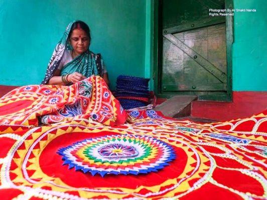The art forms of Odisha: Pipili Chandua; lady artisan doing appliqué work at Pipili, one of the most well known handicraft of Odisha Photo credits: Ar Shakti Nanda