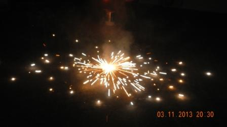 Happy Diwali: celebrating Dipaballi two years ago. Its a relatively safer object that rotates per Newton's 3rd law when it produces an ejecting mass of fuel that burns quickly. It rotates and produces light in a circular scattering. I made this into a banner on my website. Down side; gun powder and pollution. Photo Credit: mdashf.org