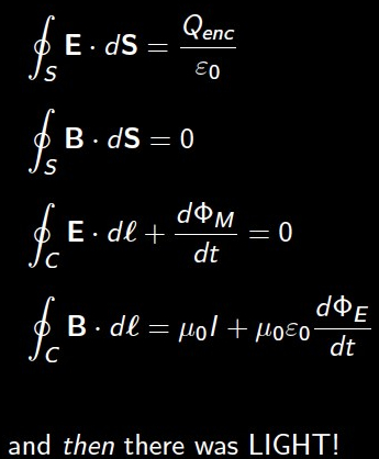 The Maxwell's equations: and then there was light Photo Credit: FB page of PhysicistPage