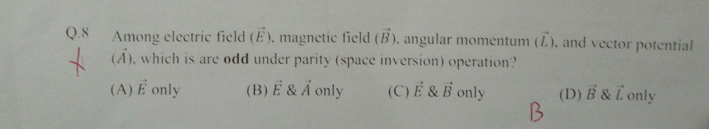 Gate Physics 2018: Parity of vectors.
