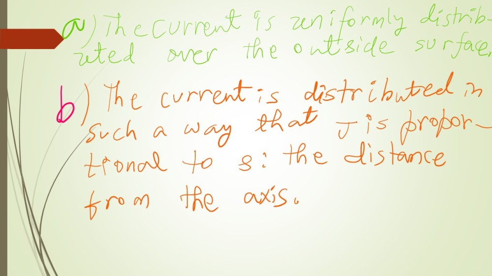 Application of Ampere's Law: Surface current density on the outside surface is uniform. Volume current density J is directly proportional to s; the distance from the axis of the wire where we are concerned about the value of J.