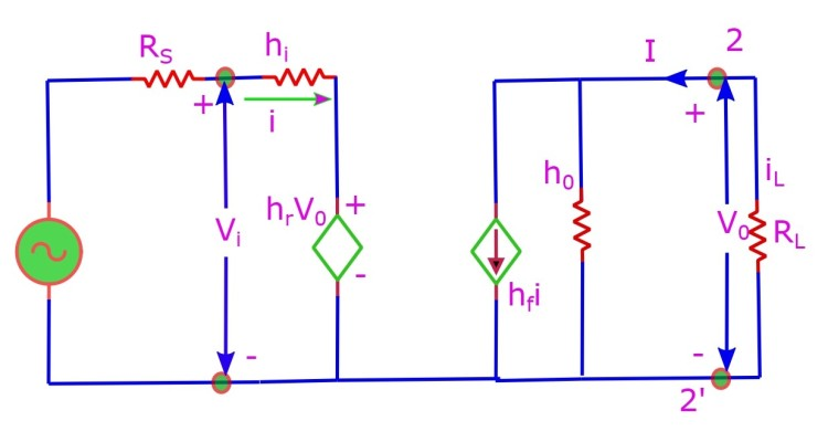 The hybrid equivalent circuit. Various parameters by the name h-parameter are defined. More description of the method is given below.